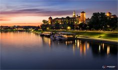 Cracow, Wawel - Beautiful view in Cracow , after sunset