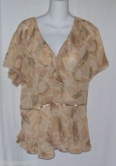 Lane Bryant Top Size 18/20 Ruffled Blouse Party Sheer Soft Beige Floral Print