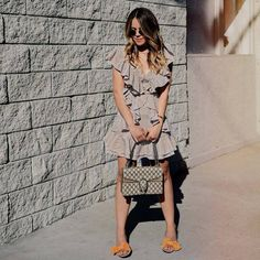 eda715670844 $24 Boohoo Cold Shoulder Ruffle Mini Dress Teamed With $1,750 Gucci  Dionysus GG Supreme Shoulder Bag In Monogrammed Canvas And Stylish  Sunglasses And Bow ...