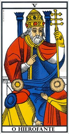 Arcane V Le Pape, Tarot de Marseille. Pretty much the classic design for V of the Major Arcana. The Hierophant, Major Arcana, Crowley, Tarot Cards, Wicca, Persona, Medieval, Psychic Mediums, Spirituality