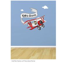 Small Red Plane and Personalized Banner Fabric by JanetteDesign, $55.00