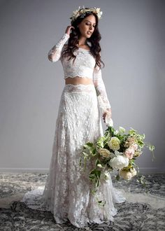 Two piece wedding dress long sleeve wedding dress off shoulder two piece wedding dress long sleeve wedding dress off junglespirit Choice Image