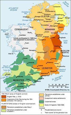 English colonization of Ireland. - English colonization of Ireland. Ap World History, British History, Family History, European History, Ireland Map, Family Genealogy, Dna Genealogy, Old Maps, Historical Maps