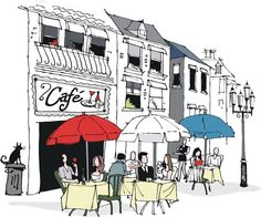 Find Vector Illustration People Dining French Cafe stock images in HD and millions of other royalty-free stock photos, illustrations and vectors in the Shutterstock collection. Thousands of new, high-quality pictures added every day. Free Vector Illustration, Illustration Art, Book Illustrations, Chat Paris, Café Theatre, Sidewalk Cafe, Parisian Cafe, Outdoor Cafe, Parasols