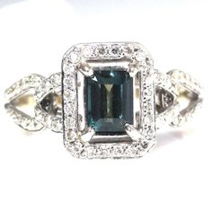 SALE Natural Alexandrite & Diamond Ring in 14k White by BestinGems, $3240.00