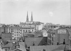 Street Scenes of Helsinki, Finland, ca. 1900s, View over Punavuori (Rödbergen) and Ullanlinna (Ulrikasborg), Helsinki