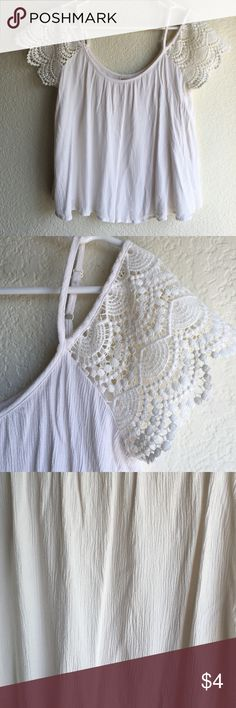 White laced blouse White blouse with laced shoulders. Good condition, no stains or holes Mossimo Supply Co Tops