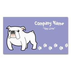 Cartoon Bulldog (white) Business Card Templates