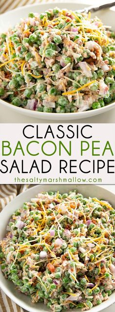 The Best Classic Pea Salad is the easiest to make cold summer side dish! Creamy pea salad is packed full of flavor with frozen sweet green peas a flavorful mayonnaise dressing crunchy onions bacon and cheddar cheese! Pea Salad Recipes, Pea Recipes, Side Dish Recipes, Vegetable Recipes, Cooking Recipes, Recipe For Pea Salad, Simple Salad Recipes, Simple Salads, Vegetable Salads