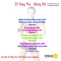 21 DayFix - Dirty 30. Follow STRIVE 365 on Facebook: https://www.facebook.com/strive.365.wellness or check out our website at www.strive-365.com