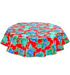 Round Oilcloth Tablecloths In Poppy Red