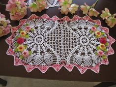 Brand new crochet doily with flowers by KroneCrochet on Etsy