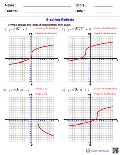 Graphing Radicals Worksheets