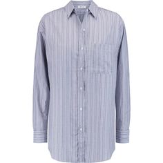 MiH Jeans Striped cotton shirt (2.735 CZK) ❤ liked on Polyvore featuring tops, grey, relaxed fit shirt, lightweight cotton shirt, shirt top, striped shirt and relax shirt