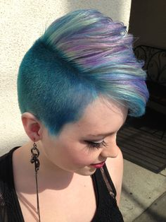 HOW-TO: Lavender, Mint & Blue Faux-Hawk Inspired by P!nk #howto #pink #pravana #formula #stepbystep #fohawk #fauxhawk #hair #hairstyle #bluehair