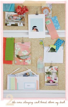 Corkboard ideas...notice the envelopes hung on ribbons, and the use of pins to hold bulldog clips.
