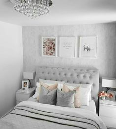 Green Bedroom Decor, Small Room Bedroom, Room Ideas Bedroom, Home Decor Bedroom, Bedroom Wall, Diy Bedroom, Earthy Bedroom, Bedroom Girls, Silver Bedroom Decor