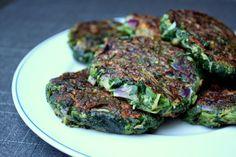 Vegetariske spinat-bøffer med hytteost