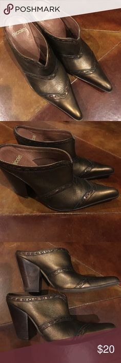 Nicole brand bronze colored boot type heels Size 8 Nicole brand bronze backless boot look heels with wooden look heel. Slightly worn condition. Nicole Shoes Ankle Boots & Booties