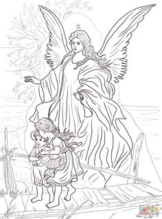 coloring pages of sky scene | ... by Guardian Angel Coloring page | Free Printable Coloring Pages