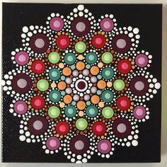 Hand Painted Mandala on Canvas Meditation Dot Art Healing