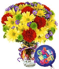 Flowers - Best Wishes Bouquet with Get Well Balloon - http://yourflowers.us/flowers-best-wishes-bouquet-with-get-well-balloon/