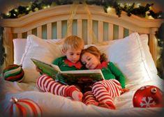 Cute Kid elves reading in bed