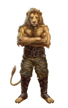 Were-Lion Brawler Warrior - Pathfinder PFRPG DND D&D d20 fantasy