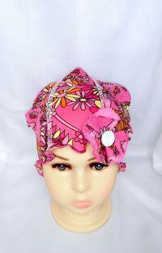 4710927ee826 Chapeau souple chimio,papillons et fleurs, enfant bébé, bonnet cancer,  couvre