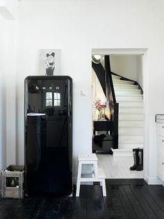 kitchen interior and vintage fridge