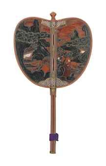 A Lacquer Gunbai [War Fan]   Edo Period (18th century)   Of typical form, decorated in iroe-takamaki-e and oil litharge and inlaid in mother-of-pearl on a red lacquer ground with Chinese boys beside a pavillion in a rocky landscape, the reverse with further Chinese figures beside a pine tree  45.5cm. high