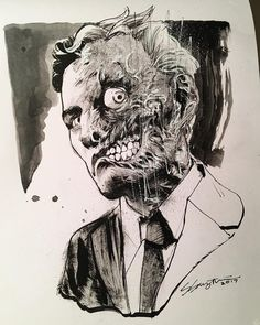 "Harvey Dent for #Inktober Day 2 - ""Divided"". (I'm one day behind, that means I've got double duty one of these days. 😅) This guy is for sale, DM for purchasing info!"