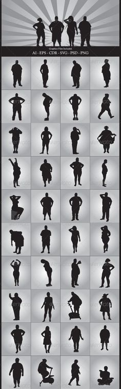 Fat People #GraphicRiver Nice Fat People silhouettes vector design. In this files include AI and EPS versions. You can open it with Adobe Illustrator CS and other vector supporting applications. I hope you like my design, thanks Graphics Files Included : AI ( Adobe Illustrator ) EPS (Encapsulated Postscript ) V.10, PNG ( Portable Network Graphics ) without background / transparent ,CDR (Corel Draw ), SVG ( Scalable Vector Graphics ) can open with inkscape ( free vector software ), PSD (…