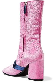 MR by Man Repeller - I'm Here To Party Metallic Leather-trimmed Embossed Velvet Boots - Pink - IT37.5