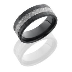Zirconium Meteroite Ring  - Zirconium 8mm Flat Band with 3mm Meteorite inlay   Your Meteorite ring was made entirely in the United States using authentic Gibeon Meteorite from Namibia, Africa. Gibeon meteorite is well known for its striking Widmanstatten lines. These lines are formed over millions of years to create a crystalline structure exclusive to meteorite, making your ring unique in its pattern and a one-of-a-kind piece of art. This ring can be custom made with your choice of 14K…
