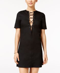 Material Girl Juniors' Lace-Up Shift Dress, Only at Macy's