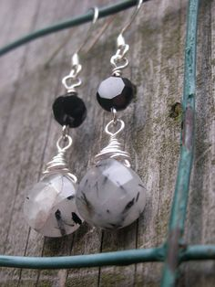 Grey & Black Quartz Earrings - Handmade