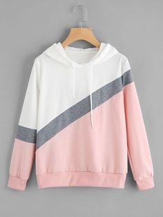 2019 Autumn Chic Spell Color Patchwork Hoodies Pullover Loose Casual Hooded Sweatshirt Streetwear Pink One Size Damen Sweatshirts, Sweatshirts Online, Hooded Sweatshirts, Mode Outfits, Girl Outfits, Casual Outfits, Fashion Outfits, Style Fashion, Shirt Diy