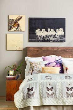 This rustic bedroom invites sleep slumbers. Shutterfly cozy quilts and soft pillows feature nature-inspired photos. | www.Shutterfly.com