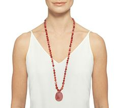 9387e47b6 Lola Rose Bohemian Express Long Oval Pendant Scarlet Agate Necklace of  Length 90cm: Amazon.