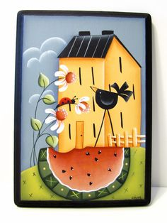 Saltbox House Sign with Daisies Watermelon Crow by ToleTreasures