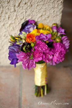 Purple, Plum, Yellow, Peach, and Green Bridal Bouquet