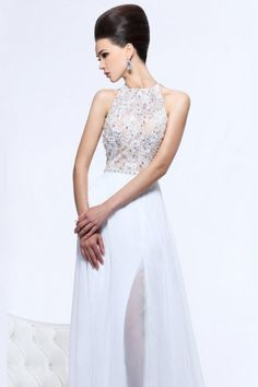 Buy Sexy Floor Length High Neck Open Back A Line Princess Chiffon Prom Dresses With Slit On line