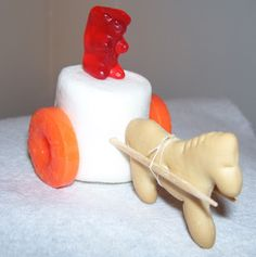 this gummy bear chariot project is simple and cute Philip and the Ethiopian Bible School Snacks, Sunday School Snacks, Sunday School Activities, Sunday School Lessons, Sunday School Crafts, Toddler Activities, Bible Food, Fire Crafts, Bible Story Crafts