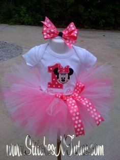 Custom 1st Birthday Minnie Mouse ONESIE TUTU by embroideryandmore, $43.00