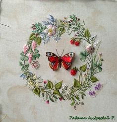 Floral wreath and butterfly embroidery