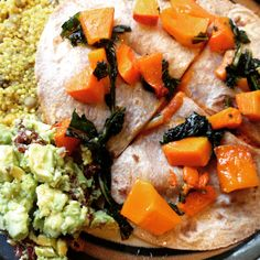 Debbie Adler's #glutenfree #vegan Roasted Butternut Squash and Kale Quesadilla with quinoa millet lentil pilaf and sundried tomato guacamole.