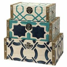 "Stylishly stow photographs, trinkets, and accessories with this 3-piece set. Featuring a cool palette, these chic boxes showcase book silhouettes and au courant patterns.      Product: Small, medium and large storage box    Construction Material: Engineered wood, canvas, fabric and linen    Color: Cream, turquoise and navy  Dimensions:   Small: 8.75"" H x 14"" W x 5.25"" D  Medium: 10.75"" H x 16.25"" W x 6.5"" D  Large: 13"" H x 18.25"" W x 7.75"" D"