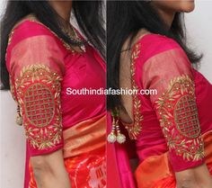 Hand Embroidered Blouse for Silk Sarees – South India Fashion Cutwork Blouse Designs, Fancy Blouse Designs, Bridal Blouse Designs, Hand Work Blouse Design, Sumo, Designer Blouse Patterns, Embroidered Blouse, Silk Sarees, Saris