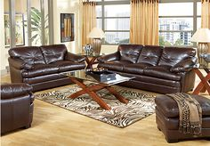Shop for a Salinger Blended Leather Coffee  5 Pc Living Room at Rooms To Go. Find Living Room Sets that will look great in your home and complement the rest of your furniture. #iSofa #roomstogo